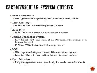 Cardiovascular System Outline