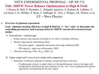 Overview of planned experiment