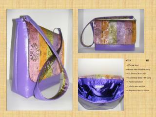 "#710       $35      Purple  Vinyl   Purple Satin Polyester lining  12.5""H x 15""W x 4.5""D"