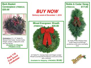BUY NOW Delivery week of December 1, 2010