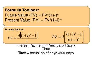 (1+i/m) m  - 1  Interest Payment = Principal x Rate x Time Time = actual no of days /360 days