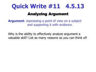 Quick Write #11   4.5.13