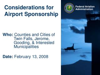 Considerations for Airport Sponsorship