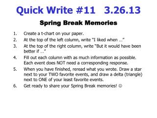 Quick Write #11   3.26.13