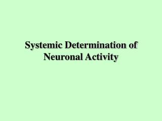 Systemic Determination of Neuronal Activity