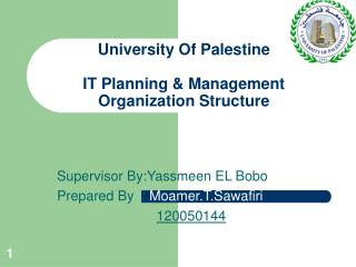 University Of Palestine IT Planning & Management Organization Structure