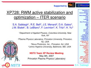 XP728: RWM active stabilization and optimization – ITER scenario