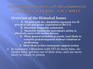 Supporting Offenders with Developmental Disabilities at CCBDD – FACT SHEET