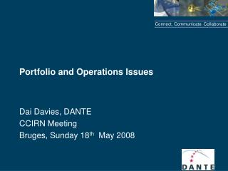 Portfolio and Operations Issues