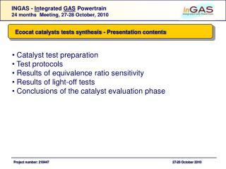 Ecocat catalysts tests synthesis - Presentation contents