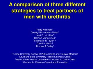 A comparison of three different strategies to treat partners of men with urethritis