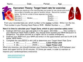 Karvonen Theory: Target heart rate for exercise