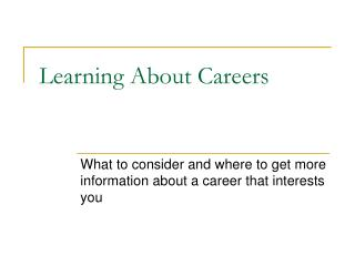 Learning About Careers