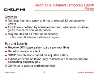 Delphi U.S. Salaried Temporary Layoff Policy