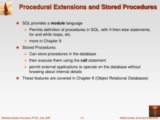 Procedural Extensions and Stored Procedures