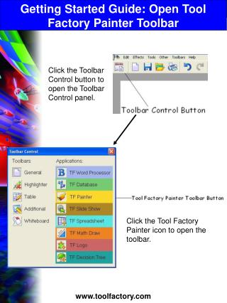 Getting Started Guide: Open Tool Factory Painter Toolbar