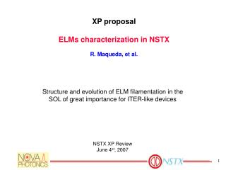 XP proposal ELMs characterization in NSTX R. Maqueda, et al.