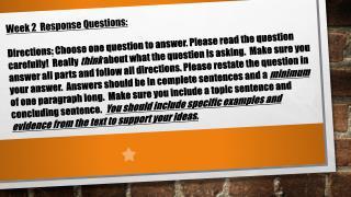 Week 2  Response Questions: