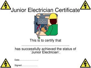 Junior Electrician Certificate