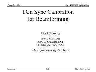 TGn Sync Calibration for Beamforming