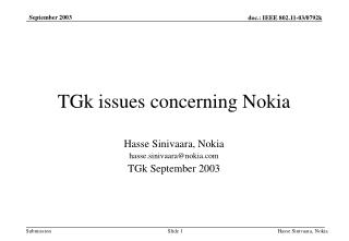 TGk issues concerning Nokia