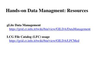Hands-on Data Managment: Resources