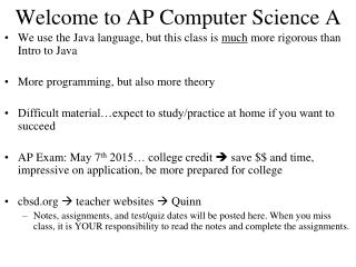 Welcome to AP Computer Science A