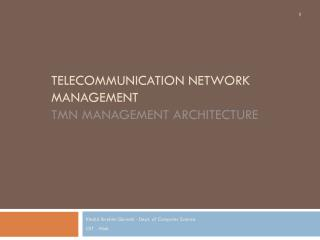 Telecommunication Network Management tmn  management architecture