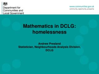 Mathematics in DCLG: homelessness