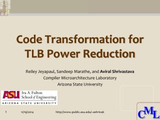 Code Transformation for TLB Power Reduction