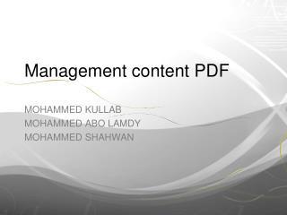 Management content PDF