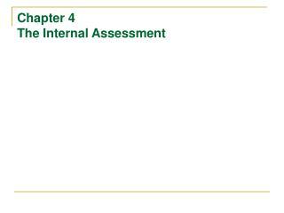 Chapter 4  The Internal Assessment