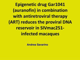 Epigenetic drug Gar1041  auranofin in combination with antiretroviral therapy ART reduces the proviral DNA reservoir in