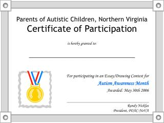Parents of Autistic Children, Northern Virginia Certificate of Participation