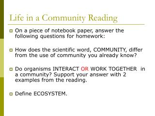 Life in a Community Reading