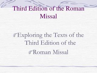 Third Edition of the Roman Missal