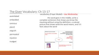 The Giver Vocabulary:  Ch 13-17