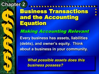 Business Transactions and the Accounting Equation