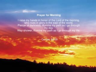 Prayer for the morning