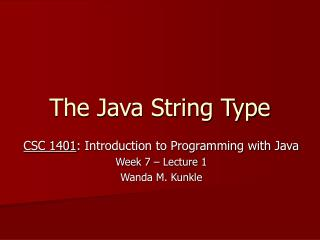 The Java String Type