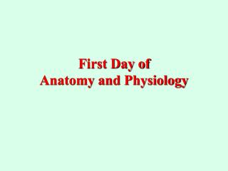 First Day of  Anatomy and Physiology