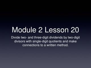 Module 2 Lesson 20