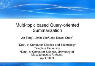 Multi-topic based Query-oriented Summarization