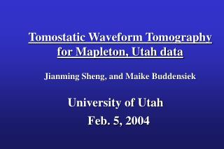 Tomostatic Waveform Tomography  for Mapleton, Utah data