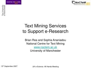 Text Mining Services to Support e-Research