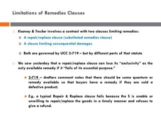 Limitations of Remedies Clauses