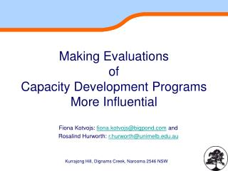 Making Evaluations  of  Capacity Development Programs  More Influential