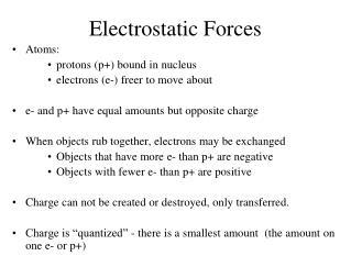 Electrostatic Forces