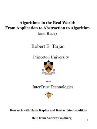 Algorithms in the Real World: From Application to Abstraction to Algorithm