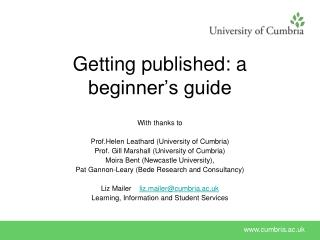 Getting published: a beginner's guide